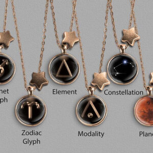A range of Aries zodiac designs set in bronze coloured pendants