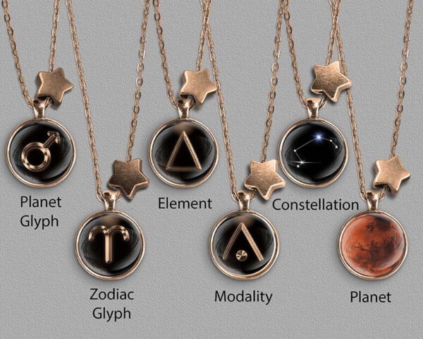 A range of Aries zodiac designs set in bronze coloured pendants