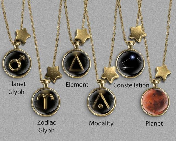 A range of Aries zodiac designs set in silver coloured pendants