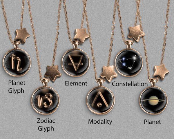 A range of Capricorn zodiac designs set in bronze coloured pendants