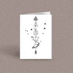 Capricorn represented as a geometric design arrow on a greetings card