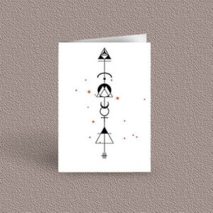 Gemini represented as a geometric design arrow on a greetings card