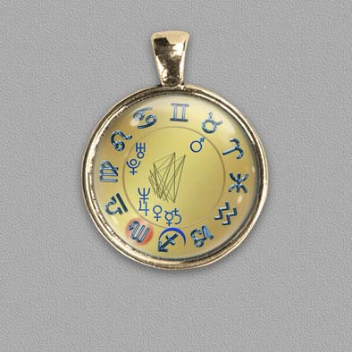 Birth chart as pendant/amulet on gold colour background