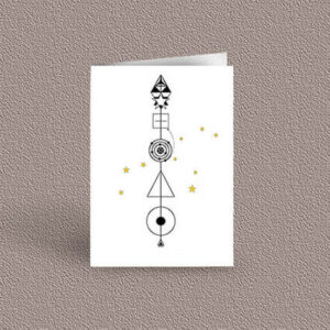 Leo represented as a geometric design arrow on a greetings card