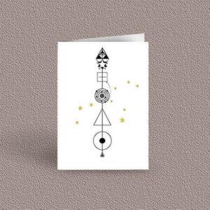 Leo represented as a geometric design arrow on a greetings card