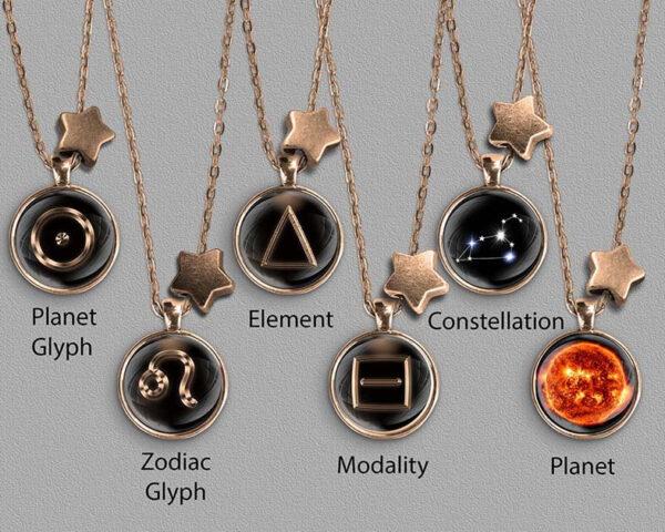 A range of Leo zodiac designs set in bronze coloured pendants