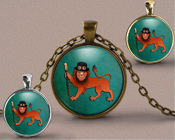 Astrology jewellery Pendant showing Zodiac sign of male Virgo as a Steampunk Character on a teal background