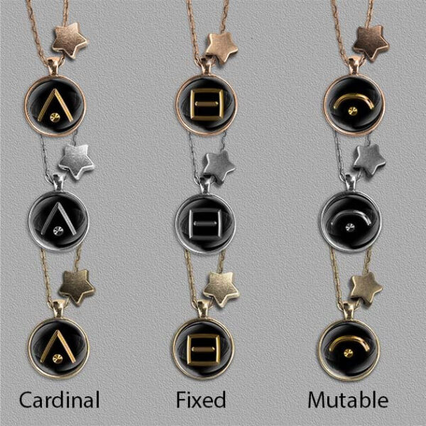 Symbols for Astrology modalities on bronze, gold and silver coloured pendants
