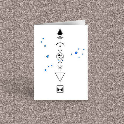 Pisces represented as a geometric design arrow on a greetings card