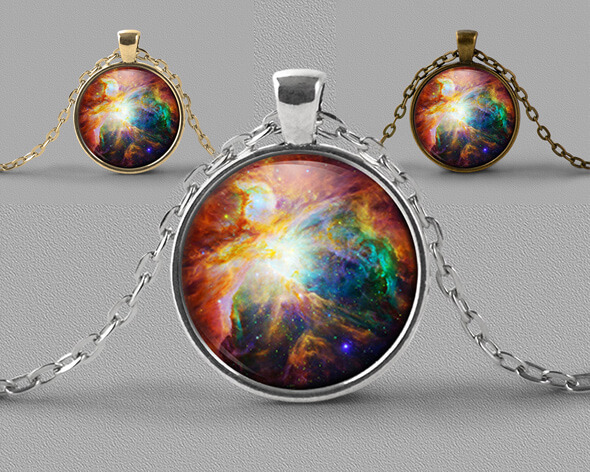 Astrology jewellery pendant necklace of bright rainbow coloured nebula