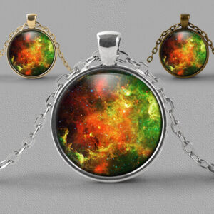 Astrology jewellery pendant of brightly coloured nebula
