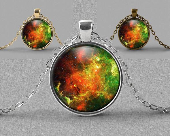 Astrology jewellery pendant of brightly coloured nebula