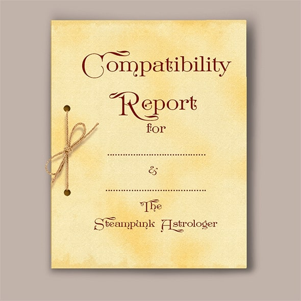 Astrology compatibility report front page parchment