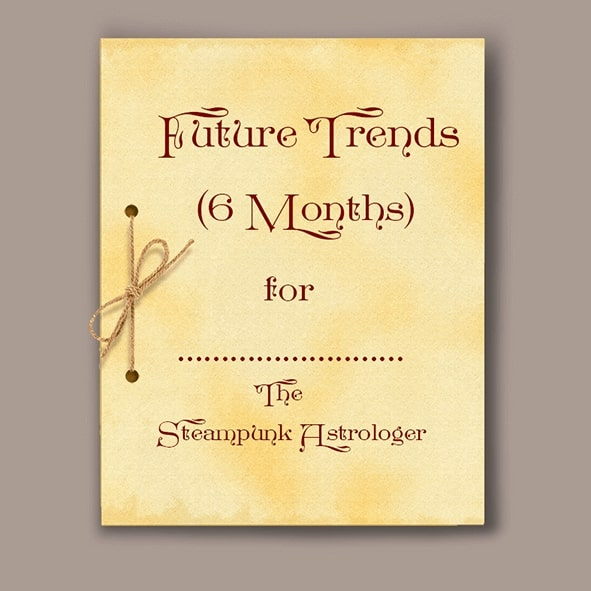 front page of astrological report Future trends on parchment paper