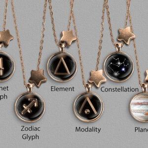 A range of Sagittarius zodiac designs set in bronze coloured pendants