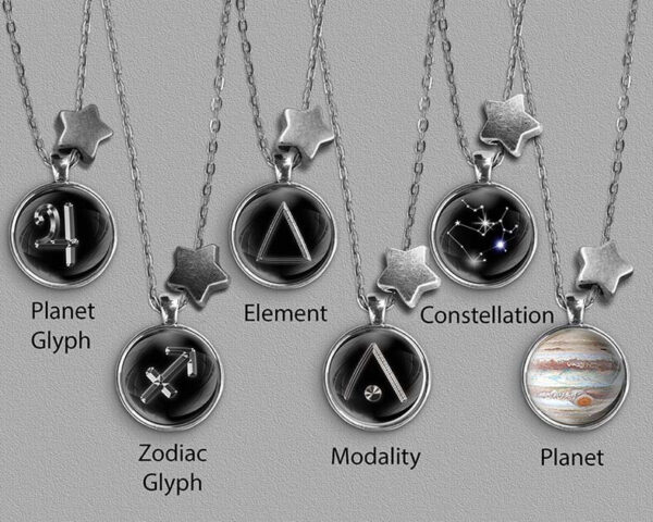 A range of Sagittarius zodiac designs set in silver coloured pendants