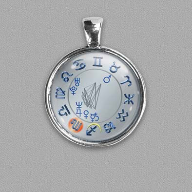 Birth chart as a pendant/amulet on silver colour background