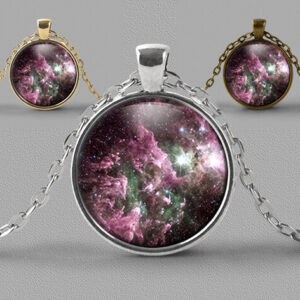 Astrology jewellery pendant necklace nebula star clouds of muted purple and green