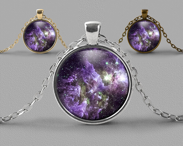 Astrology jewellery pendant necklace nebula dust clouds in shades of soft purple