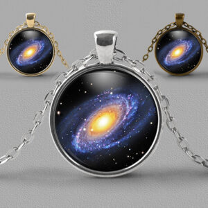Astrology jewellery pendant necklace showing spiral galaxy in space