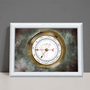 Astrology chart as art showing an old style gauge on smoky background