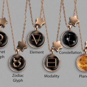 A range of Taurus zodiac designs set in bronze coloured pendants