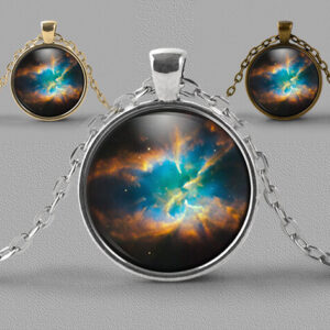 Astrology jewellery pendant necklace nebula in blues and golds