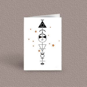 Virgo represented as a geometric design arrow on a greetings card