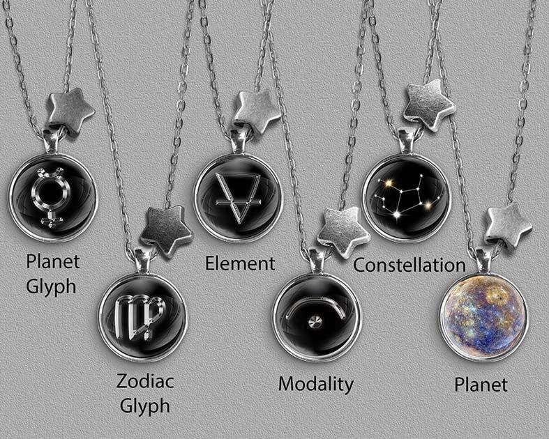 A range of Virgo zodiac designs set in silver coloured pendants