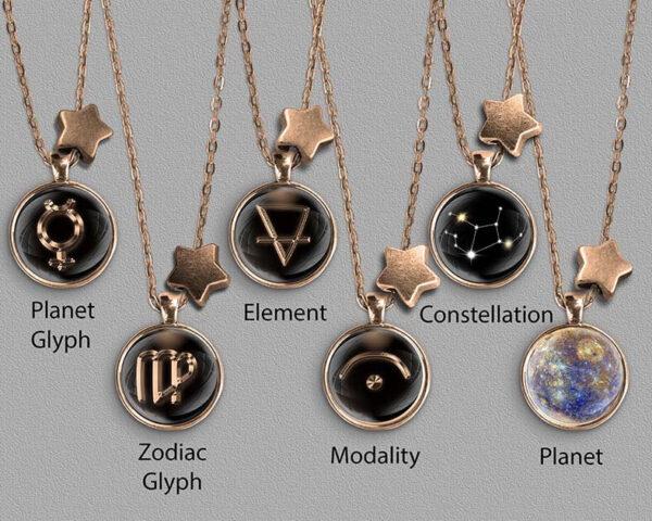 A range of Virgo zodiac designs set in bronze coloured pendants