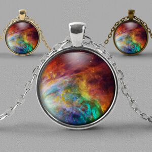 Astrology jewellery pendant necklace of swirling rainbow coloured nebula