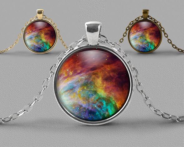 Astrology jewellery pendant necklace of swirling rainbow coloured nebula