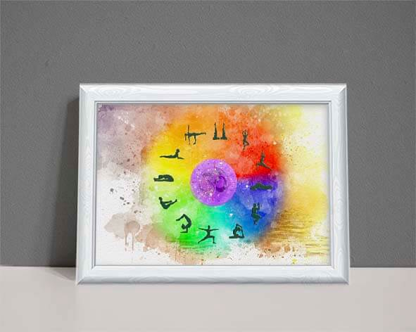 Watercolour Astrology chart with 12 yoga positions on a rainbow coloured circle