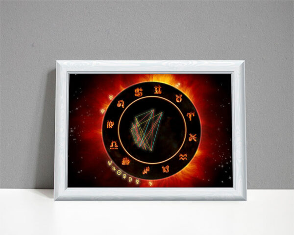 Fire element astrology chart drawn as eclipse on black background