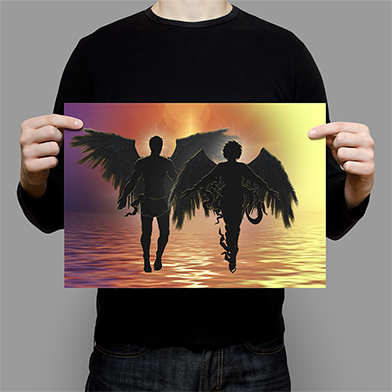 Silhouette of 2 angels at sunset
