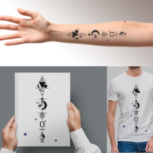 Bespoke Astrology Arrow montage as tattoo, print and T shirt design