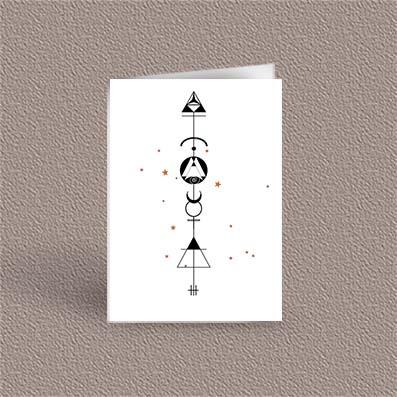 Gemini represented as a geometric design arrow on a greetings card
