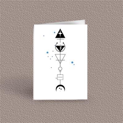 Taurus represented as a geometric design arrow on a greetings card